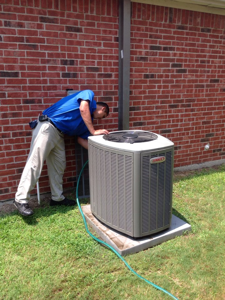 Mesquite, TX - Air conditioning service call, working on a 4 ton Lennox system. Installed new condenser fan motor. Inspected the rest of the system and is operating properly at this time.