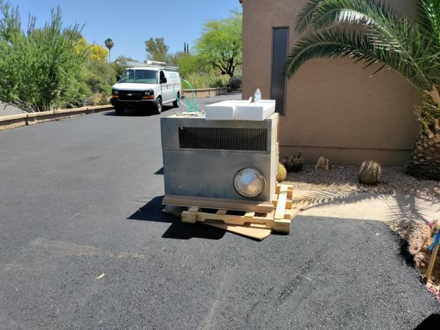 Carefree, AZ - Today we are getting rid of this old gas packaged system and installing a Brand NEW Trane Gas/Electric Efficient GasPac for a wonderful customer of ours!  I'm so happy for them! Our install crew is there now...Crane just left and we will be done today, and now he'll be ready for summer!!