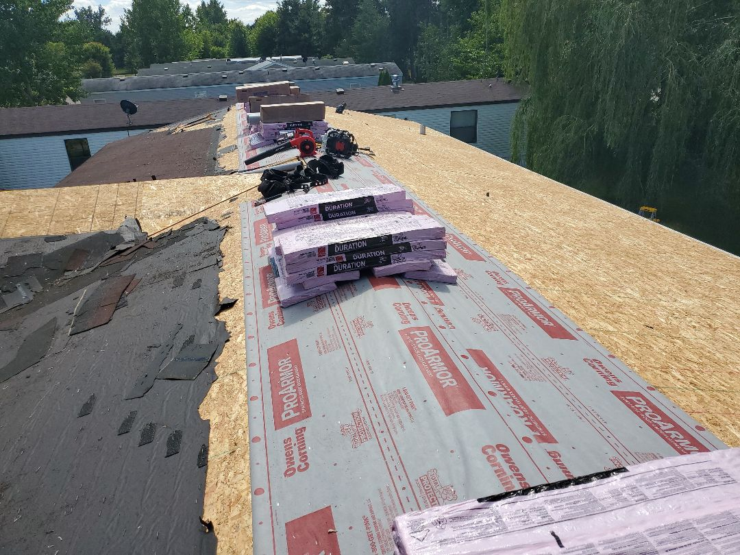 Rice, MN - Under construction of new asphalt shingle roof. Getting new Shast White by Owens Corning Duration.