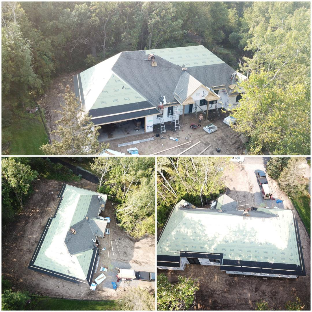 Sauk Rapids, MN - New Construction Roof for Schnettler Benning and Leighton Broadcasting about half way done.