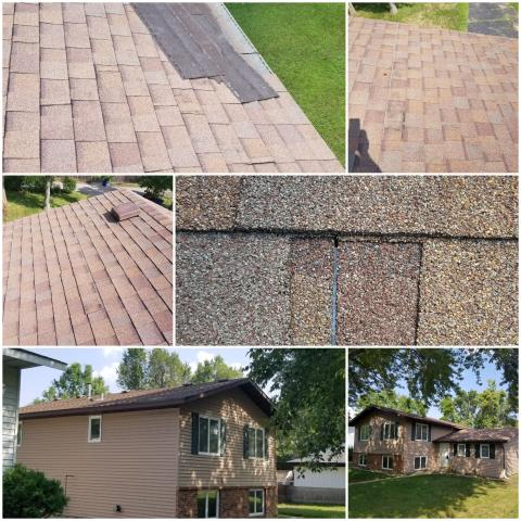 St. Cloud, MN - Hopefully we can get this one covered by insurance for wind damage. Unfortunately for this homeowner his roof was done by an unskilled roofer and probably was the previous homeowner which led to water damage and blown off shingles.
