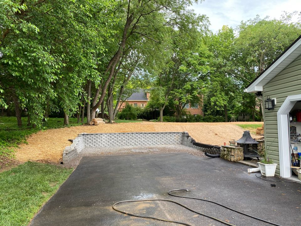 Hagerstown, MD - Shed pad prep, retaining wall, grading