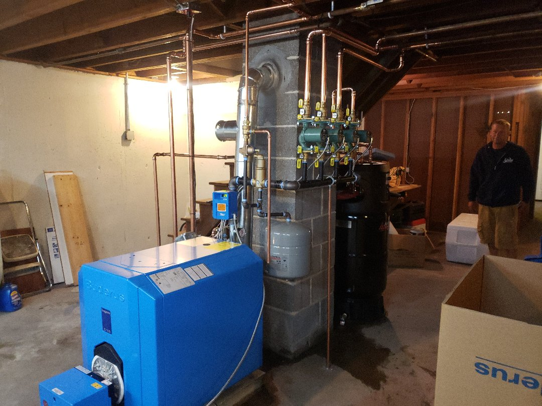 East Lyme, CT - After, New buderus boiler with amtrol indirect.