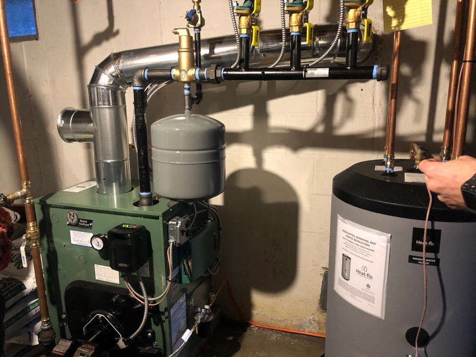 Clinton, CT - New Yorker boiler installation and Heat Flo indirect installed by Roy Nick Avery and Jacob.