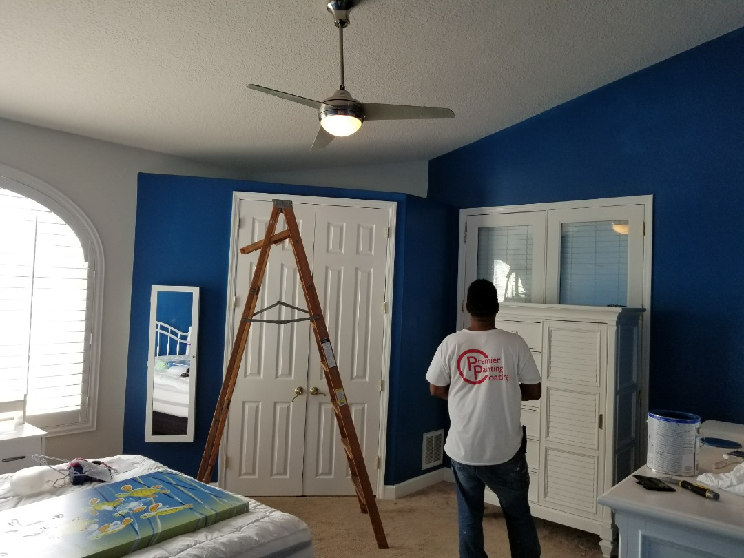 Jose and Mike did a fantastic job turning this room for a girls room to a more modern color. Great job guys