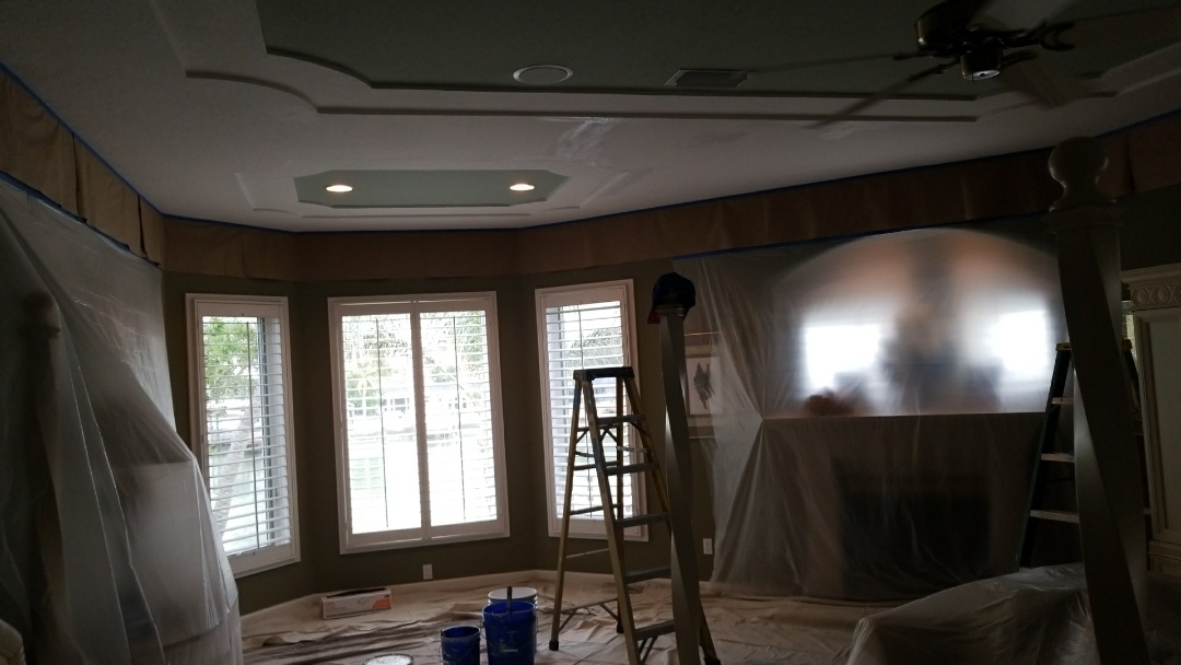 Freshening up the ceilings due to water damage