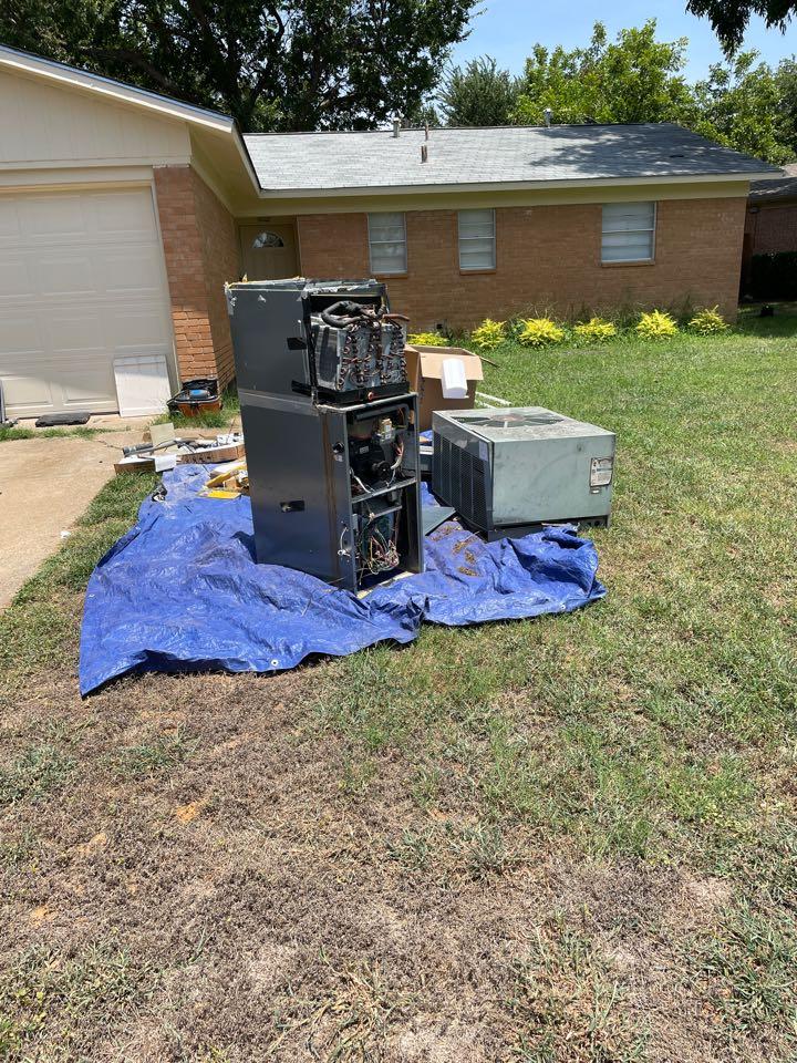Arlington, TX - AC service call repair. Install new AC unit