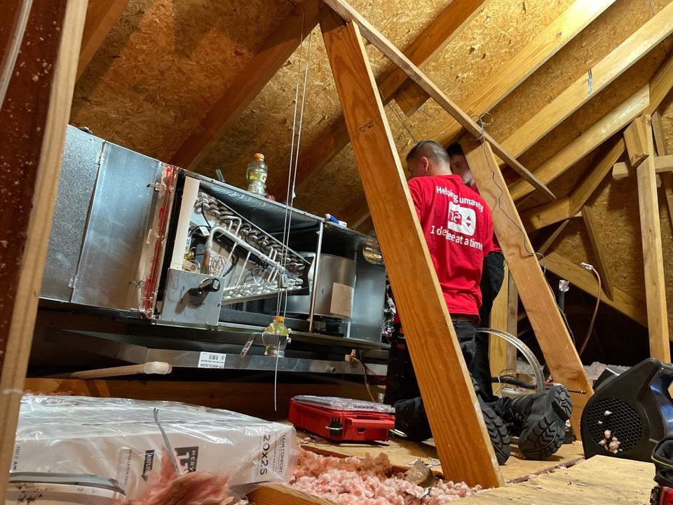 Air conditioner service call repair. Install new AC unit