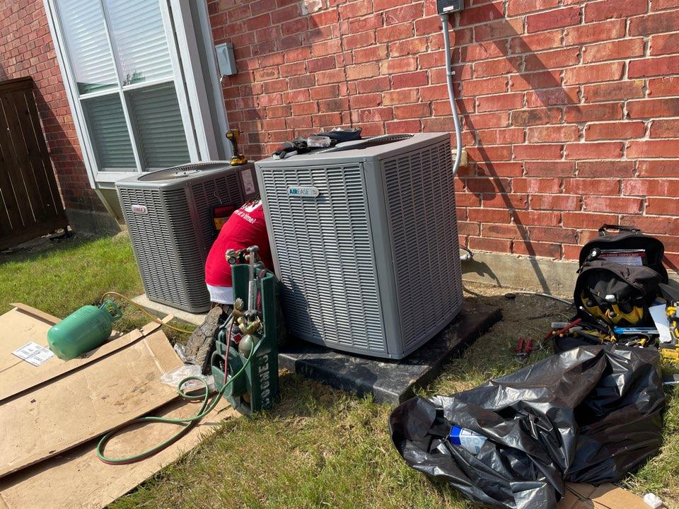AC service call repair. Install new air conditioner