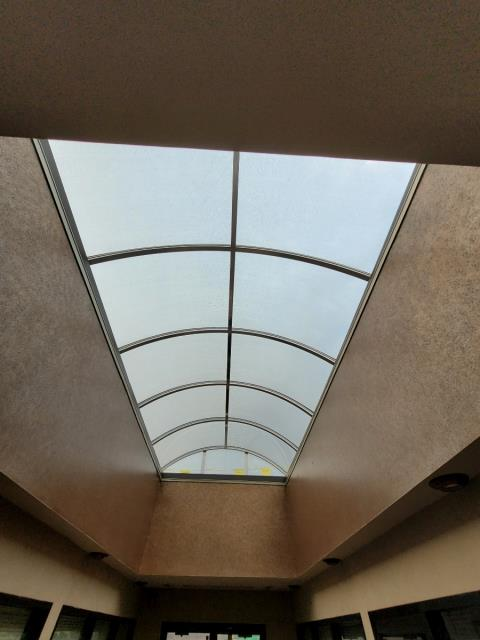 Oakbrook Terrace, IL - Commercial grade skylights.  Custom made and installed skylights.  Specialty type skylight install on commercial grade membrane flat roof.