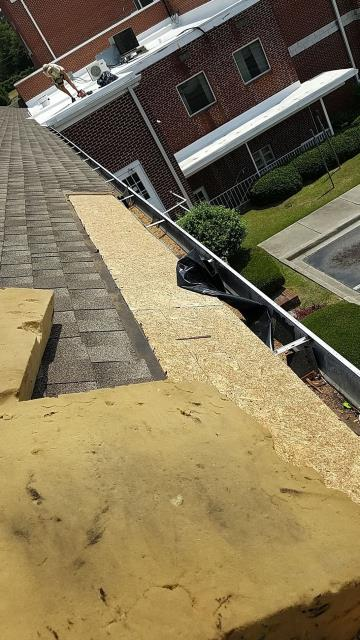 Columbia, SC - Remove shingles from bottom of roof, from wall out approx. 24' and 2' up. Replace damaged wood. Install weather guard and re-shingle with new shingles.