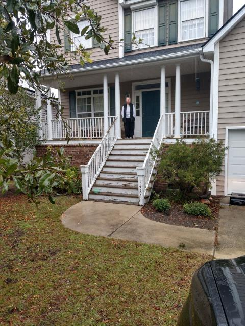 Charleston, SC - Prep entire front porch by sanding and power washing rails. Caulk the joints. Replace the two by sixes