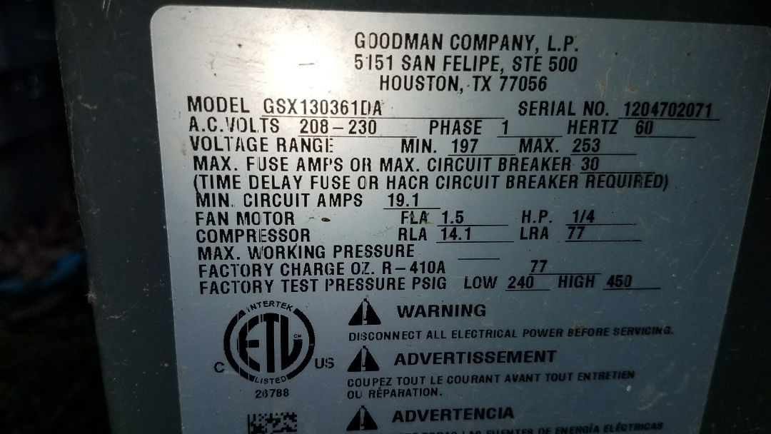 Working on a Goodman air conditioning system that needed a contactor repair