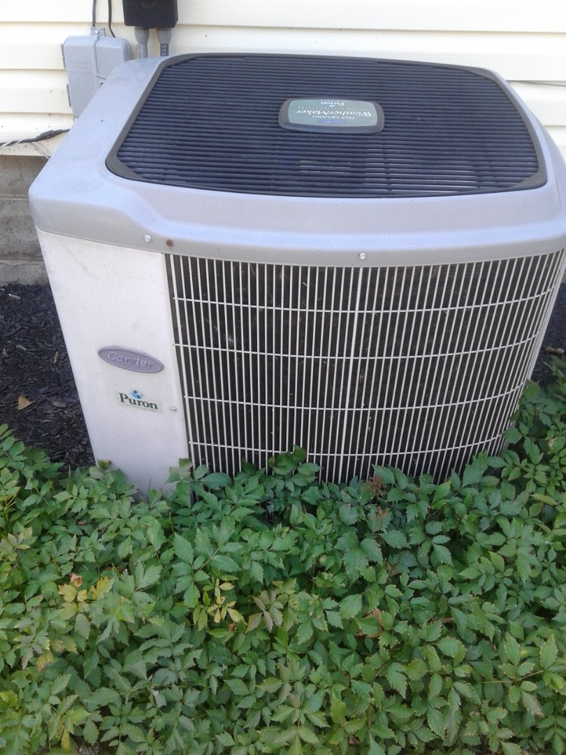 Carrier split system condenser not operating, Found and replaced swollen capacitor  Ran tested unit is operating at this time with a 19 degree temperature drop