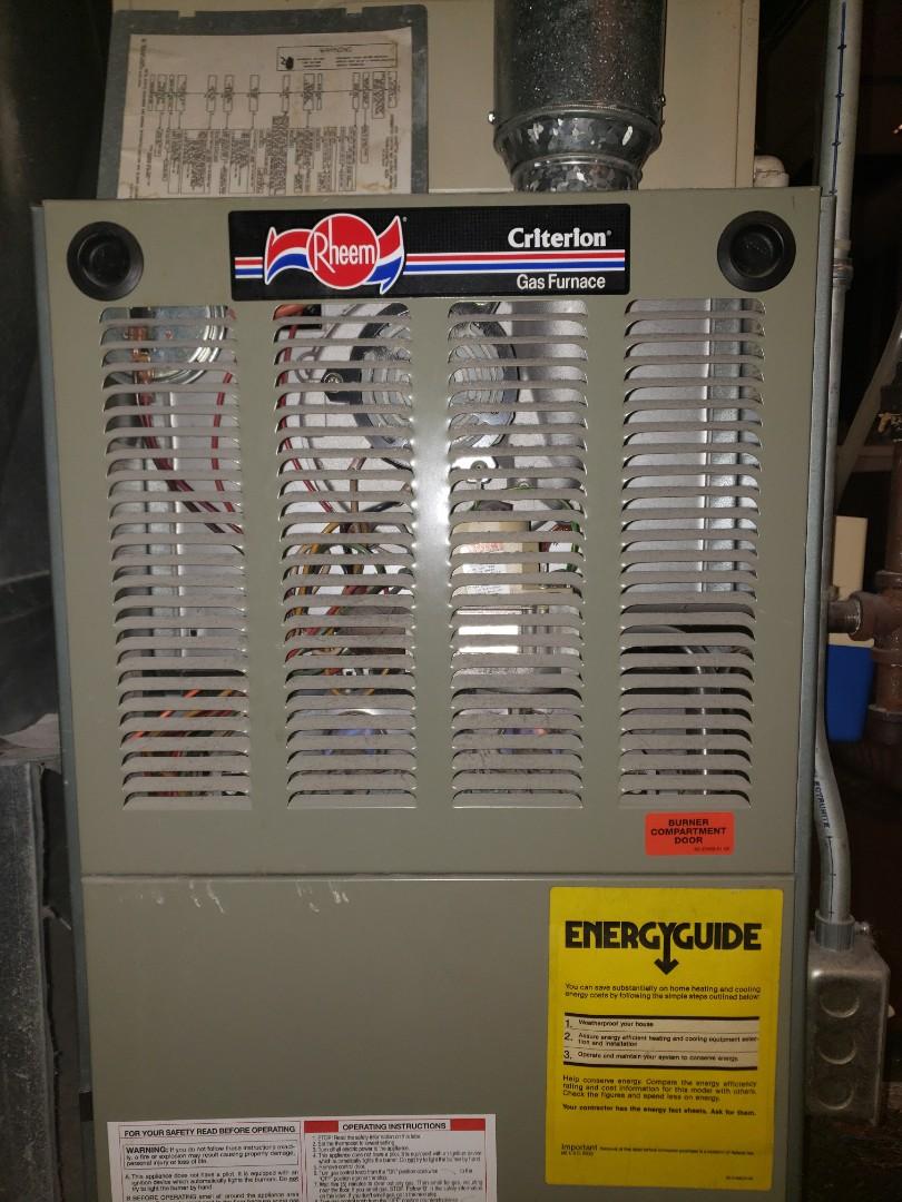 Rheem natural gas furnace near Eastside Cleveland ohio