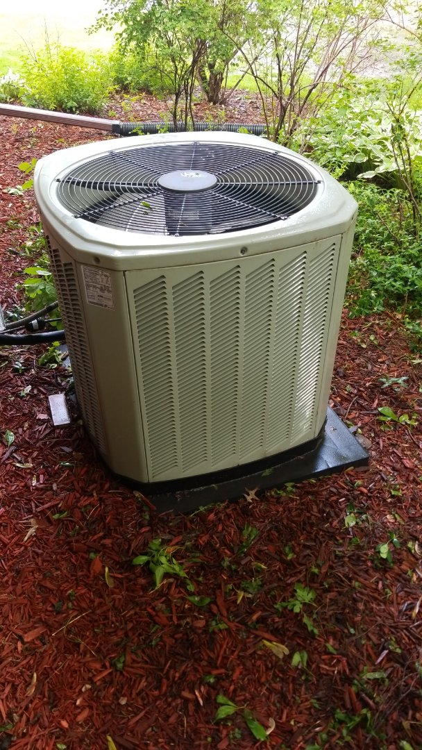 Maxwell, IA - Servicing a 2013 Trane A/C in residential Ames.