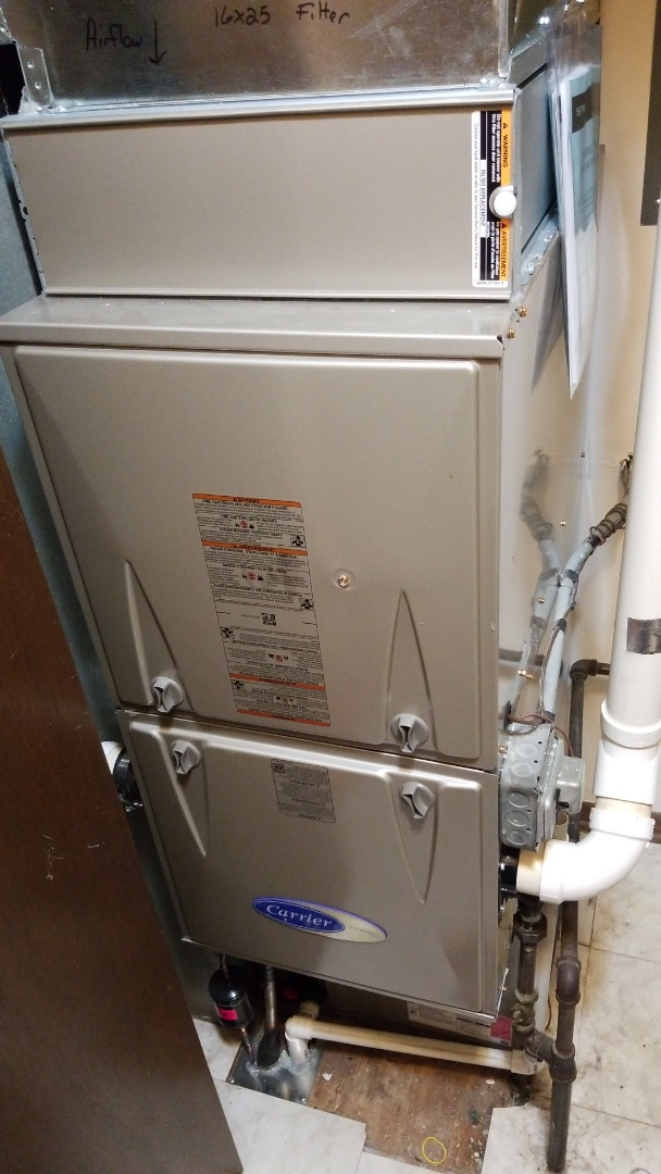 Gilbert, IA - Servicing a 2019 Carrier furnace and replacing a pressure switch under warranty in residential Gilbert.