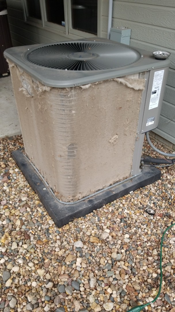 Des Moines, IA - Performing planned maintenance and cleaning a dirty coil on a 2015 Lennox A/C in residential Des Moines.