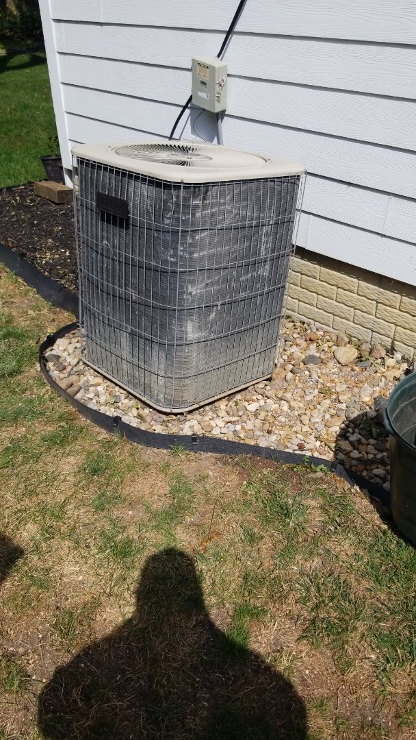 Polk City, IA - Resetting a 2002 Lennox condenser (shifted by 2020 Iowa Hurricane) and recharging the refrigerant circuit in residential Polk City.