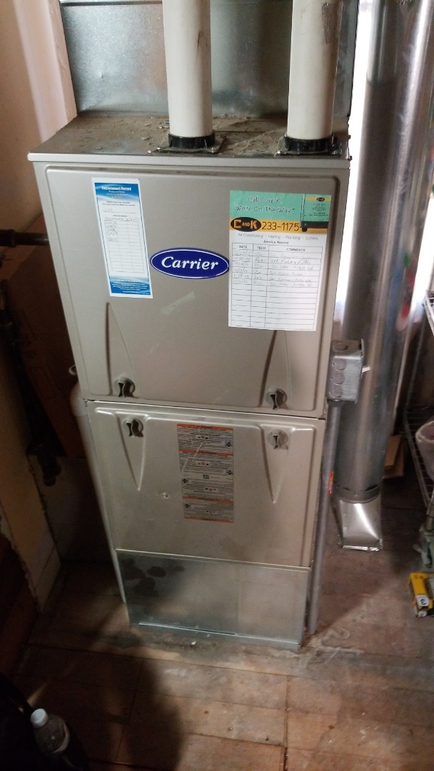 Colo, IA - Servicing a 2013 Carrier furnace in residential Colo.