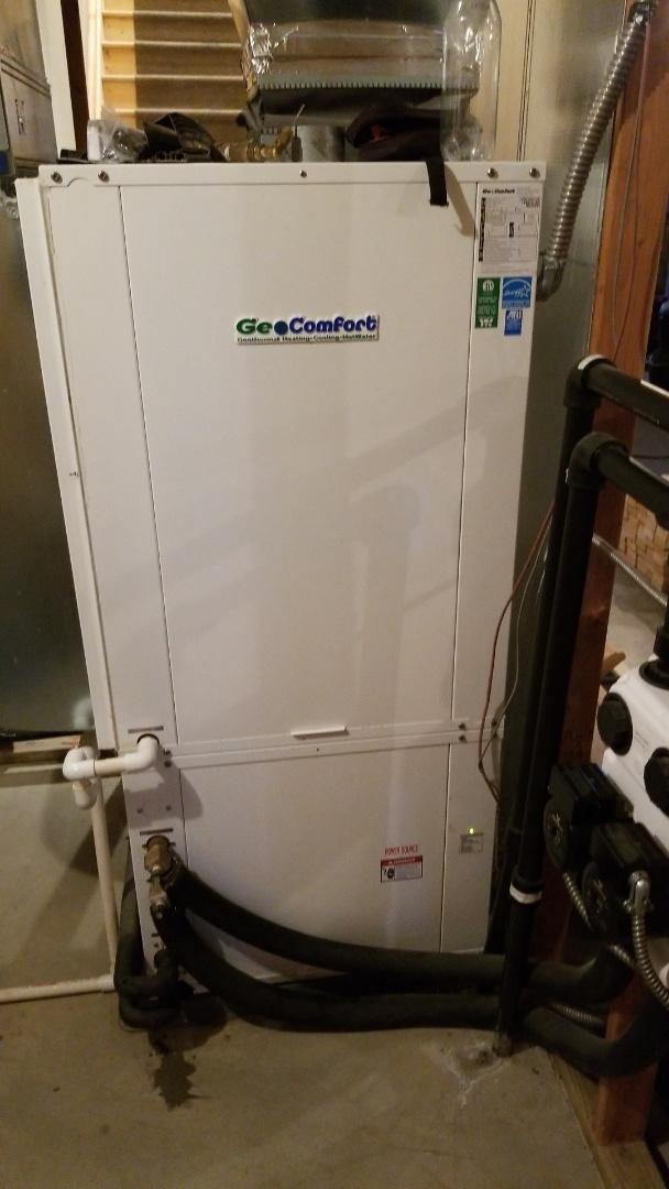 Madrid, IA - Servicing a 2008 Geocomfort geothermal heat pump in rural Madrid.