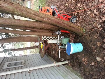 Galena, OH - Auger / snake / clean sewer pipe from outside cleanout to septic tank tree roots