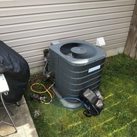 Westerville, OH - Performed electronic leak test on a 2 ton central air system and found leak in evaporator coil. Recharged unit with 1.25 lbs of R-22 Freon at customer request.