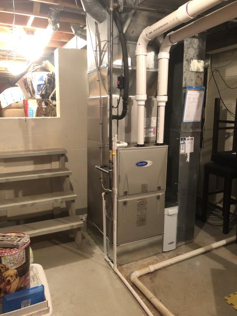 Dublin, OH - One of our talented technicians went to the customer's home to complete an installation on a brand new Carrier 96.5% Variable-Speed and a Carrier up to 17 SEER Air Conditioner (Up to 3 ton).  Pictured is the new Carrier Furnace.
