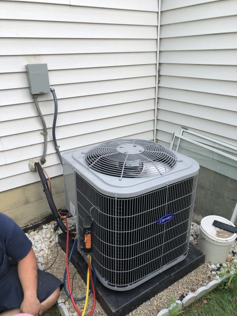 Canal Winchester, OH - Tuneup an Carrier AC. Noticed high pitch noise from fan. Removed fan and ensured shaft was tight. Replaced fan and did not hear noise. The system is cooling properly at this time.