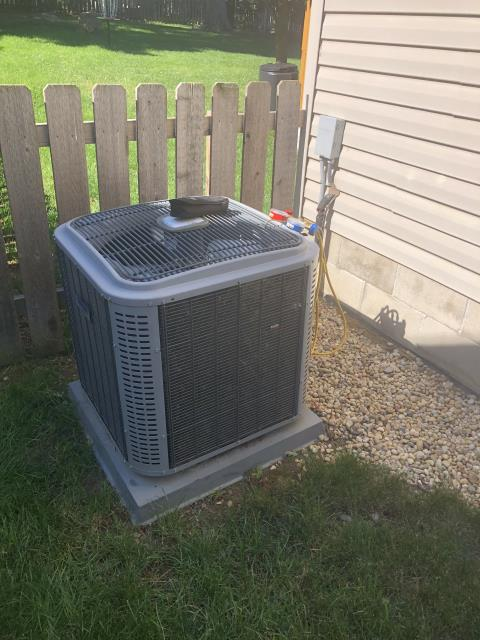 Delaware, OH - Found dirty filter. Replaced with homeowner filter. Checked charge. Cleaned coil checked cap adjusted blower speed on 2012 tempstar .