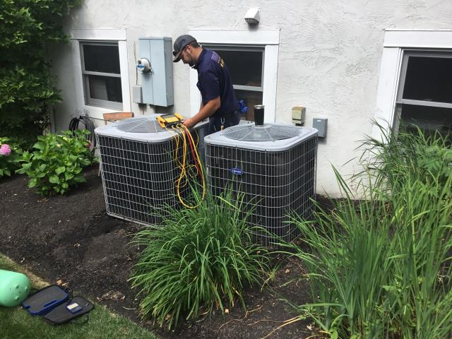Westerville, OH - Arrived on site system went down last night,Wires on the system is bad . Customer needs cooling upstairs I'm going to run wire from the system down the attic access out the bedroom window down to the system. This should provide temporary cooling for the health issues in the house