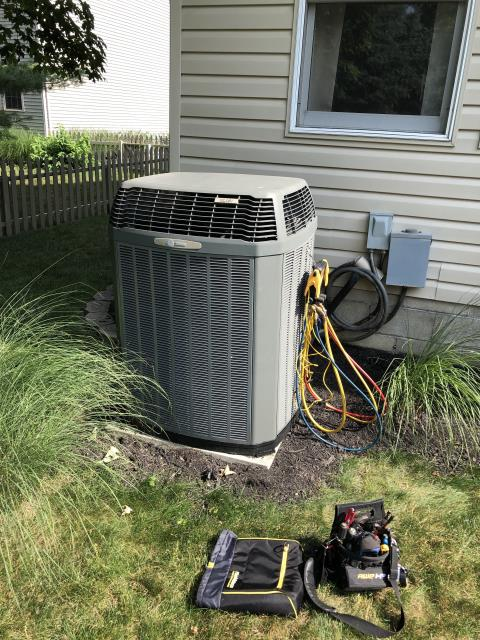 Hilliard, OH - Checked refrigerant levels found them very low. Advised client he has a leak. With the age tech didn't recommended wasting money on a leak search due to it costing thousands to fix a leak. And it will not insure the system won't have addition issues after a leak fix.