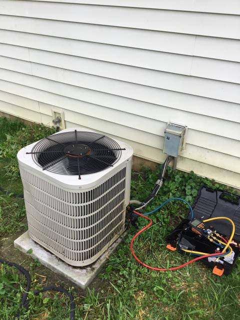 Westerville, OH - Arrived on site ac is older than 2012. Has lots of water on the floor and system hasn't been cooling correctly ever sense they moved in. Downstairs removed filter can still see light through it but it is needing to be replaced. Removed. Checked for ice on the coil couldn't see any but it's uncased so hard to get into. Outside gauged up to the 2009 Concord system. R410a , system refrigerant is correct. Now we are dealing with a water leak. Used inspection scope to see if coil drain pan has standing water it is all cleared out. This tells me that the drainage pipes are okay and that we have a hole somewhere on the uncased coil.