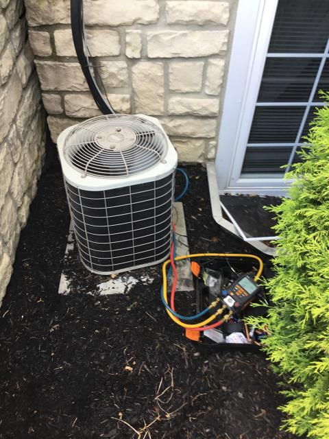 New Albany, OH - Arrived on site of the 2004 Bryant system was icing over they've had it off for three days. Cycled on temp drop is 10 degrees no ice on coil filter is brand new. Outside gauged up system is 44/220 r22 superheat is 58 should be 21-24. System is low on refrigerant which means we have a leak somewhere on the system
