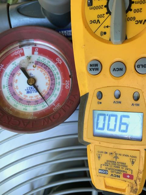 Pataskala, OH - Took temp drop is down flow system had to take temp from floor register. Temp drop at 13-14 degrees. Blower on clean filter. Outside gauged onto system 129/265 2 degree superheat 13/10 Subcool. Charge is spot on. Blower speed set at 1200cfm which is okay but I lowered to 1000 for better humidity control on this 2.5 ton system. Noticed sub cool is rising and falling rapidly between 11-17 degrees. Super heat is bouncing between 0.1-2.4. At this time it's either a bad txv or bad refrigerant with non condensible in it. Going to replace txv filter dryer and pull a strong vacuum to 250micron.