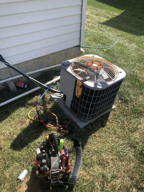 Johnstown, OH - Diagnostic Service Call on 2006 Bryant Air Conditioning unit. Outdoor cap blown. Replaced and found system low on refrigerant. Owner will refill