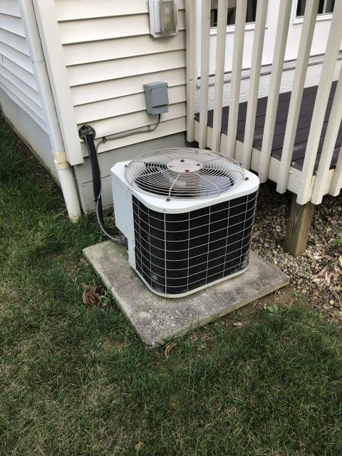Groveport, OH - Diagnostic Service Call on 7 year old Bryant unit. Blower motor does not come on. Cabinet is rusty and is damaged from water Drain line is clogged and slopped incorrectly, causing pan to overfill and leak onto motor Hooked up motor from truck and it started. Ordered blower motor and will schedule as soon as possible