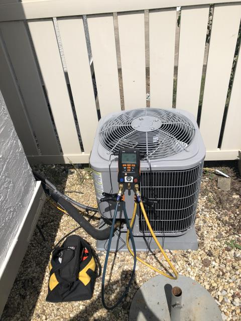 Groveport, OH - Found Carrier AC low on refrigerant during tuneup. Customer declined adding refrigerant at this time.