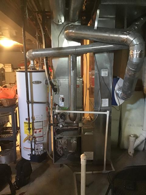 Etna, OH - I am Performing our Five Star Tune-Up & Safety Check on a  2004 Bryant Gas Furnace.  All readings were within manufacturer's specifications, unit operating properly at this time.