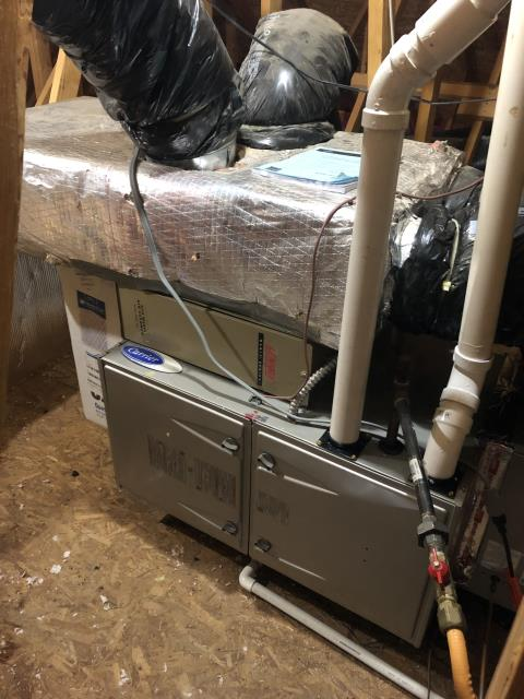 Blacklick, OH - I found the Carrier Gas furnace stuck in lockout 13 indicating it tripped high limit. I adjusted the gas pressure. The system still has the bypass damper on from the old zone system and will need removed. I will return to remove bypass, clean up thermostat wiring and replace humidistat.