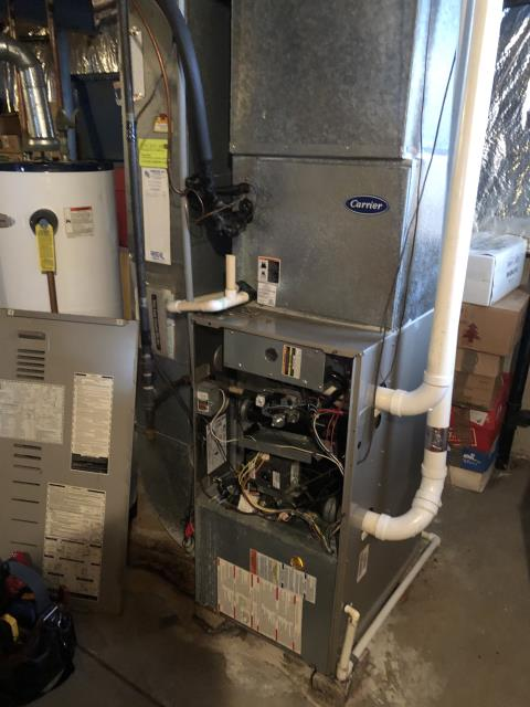 Westerville, OH - After I reset the 2004 Carrier gas furnace, it stopped coding 24 (open fuse). At this time the circuit board is faulty. I advised client that it would be better to replace the whole system due to age and cost of repairs. I am sending quote to customer for new system.