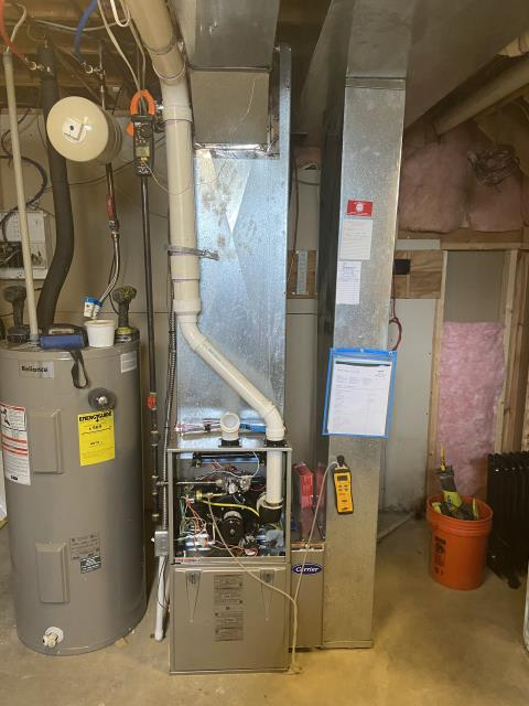 Sunbury, OH - I installed a Carrier 96% 80,000 BTU Gas Furnace. I cycled the system to make sure everything was working as it should. System is operational upon departure.