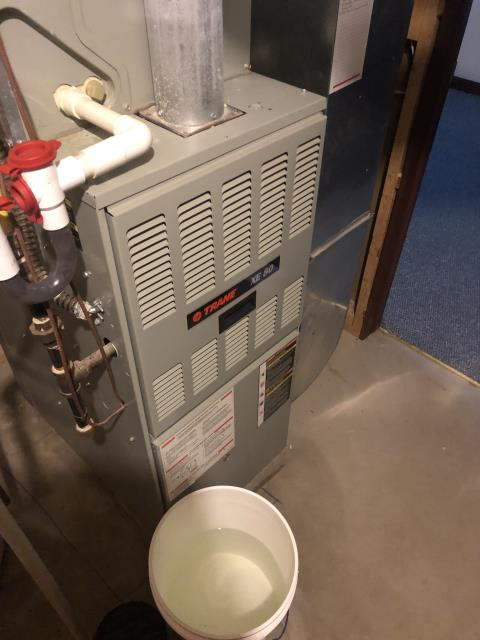 New Albany, OH - I completed a diagnostic on a Trane Gas Furnace. I determined that the water may be coming from fresh air intake located under the customers deck. System was operational at time of departure.