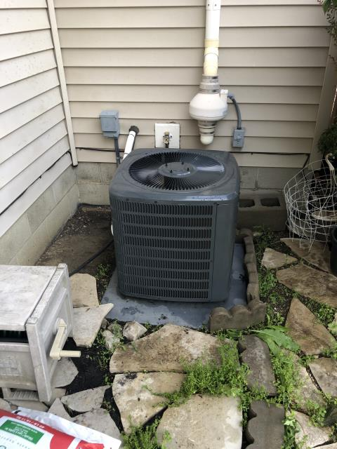 Delaware, OH - I completed a diagnostic service call on a Goodman air conditioner. Determined that the Motor surge capacitor needed to be replaced as well as the coils needing cleaning. Replaced the capacitor, client declined other repairs.