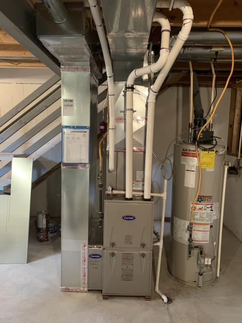 Pickerington, OH - I completed a Full Install of a Carrier 96% Gas Furnace 59SC5 (Up to 100,000 BTU) Honeywell T6 Programmable Thermostat/Emerson 1F85U Carrier 16 SEER Air Conditioner 24ABC6 (Up to 3 ton). The system is operational upon departure.