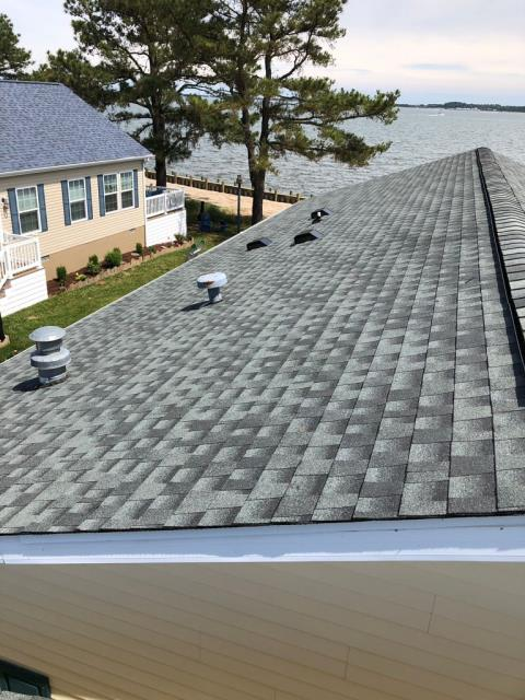 Spicer Bros. is in Millsboro, Delaware installing a new roof using Timberline HD shingles in Slate, check out this beautiful view!