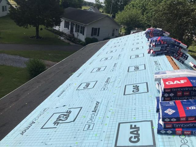 Cambridge, MD - Spicer Bros. Roofing is getting ready to lay down GAF Timberline HD shingles on this roof, the homeowner chose Pewter for the color.