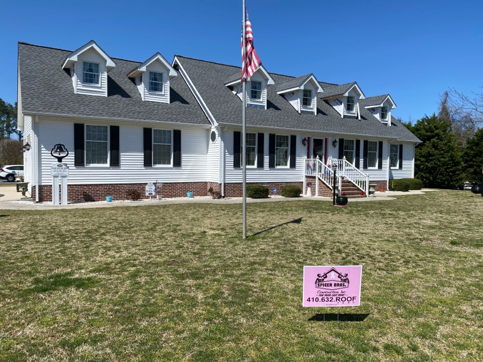 Chincoteague, VA - Spicer bros construction roofing job. Single layer shingle removal. Installed new GAF Timberline HD Pewter gray shingles. Home is located in Chincoteague VA.