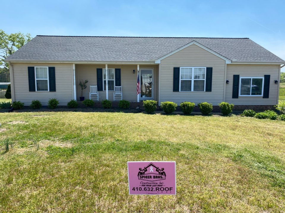 Willards, MD - Spicer Bro's Construction roofing job. Single layer shingle removal. Installed new GAF Timberline HD Charcoal shingles. Home is located in Willards MD.