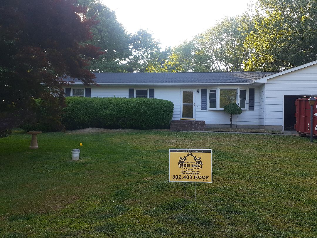 Dover, DE - New roof installed using GAF timberline HDZ pewter grey shingles